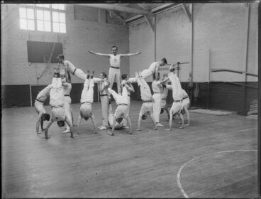 Image: Young Men's Christian Association gymnastics demonstration in a gymnasium