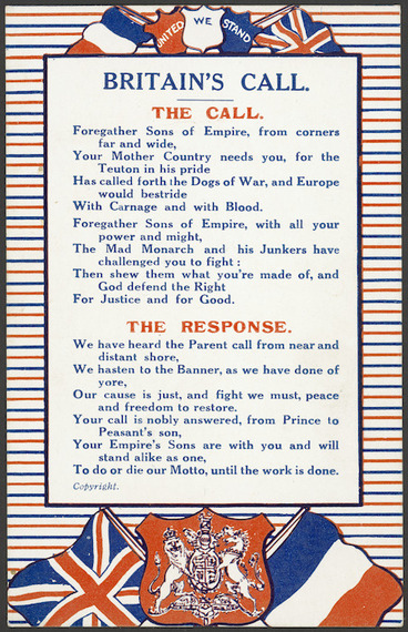 "Image: [Postcard]. Britain's call. The call - the response. ""Philco"" series no 2560. Printed in England. [ca 1914]."