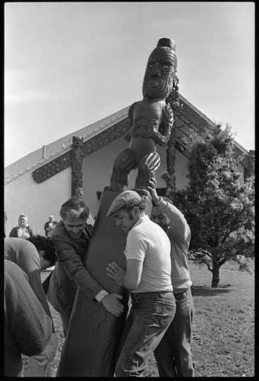 Image: The first of ten carved pou being laid in place during the Waiwhetu Marae's 25th birthday celebrations at Lower Hutt - Photograph taken by Ross Giblin