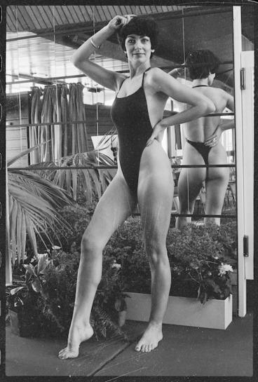Image: Model wearing `thong' swimsuit, 1975
