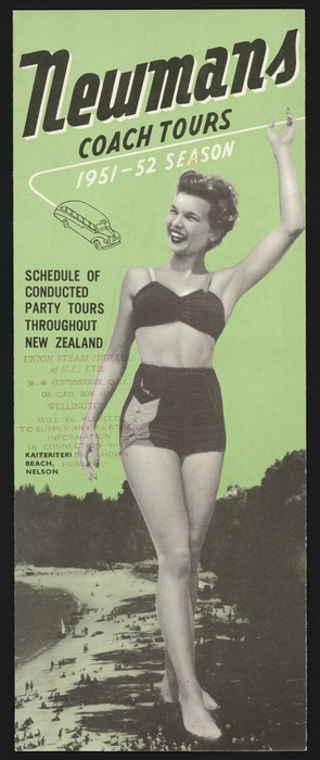 Image: Newmans Coach Tours Ltd :Newmans coach tours , 1951-52 season. Schedule of conducted party tours throughout New Zealand. [Brochure cover. 1951].
