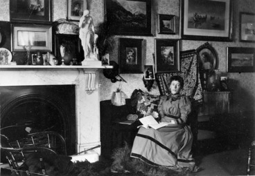 Image: Frances Hodgkins in the drawing room of 'Cranmore Lodge'