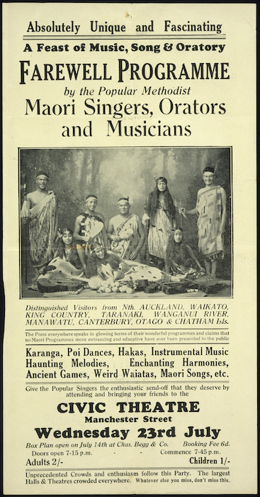 Image: Civic Theatre (Christchurch) :Absolutely unique and fascinating. A feast of music, song & oratory. Farewell programme by the popular Methodist Maori Singers, Orators and Musicians. 23 July [1930].