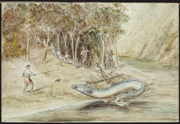 Image: [Downes, Thomas William] 1868-1938 :[Catching the legendary eel at Tangahoe. 1938?]
