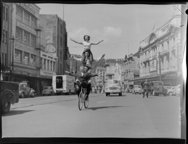 Image: Four people on one bicycle in Courtenay Place, Wellington
