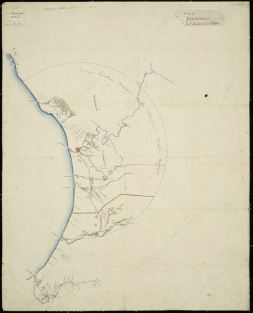 Image: Rookes, Charles Cecil, 1819-1909 :[Wanganui Militia districts, showing divisions under Major Rookes and Major Marshall] [ms map] / C.C. Rookes, delt., [186-?]