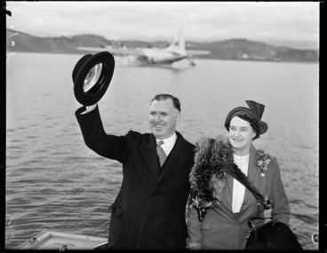 Image: Prime Minister Sidney Holland and Mrs Holland leaving for London