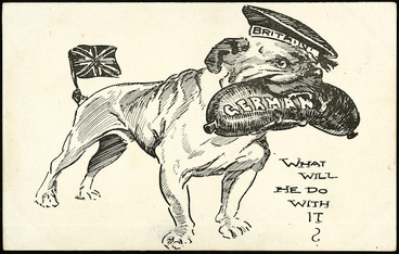 """Image: [Blomfield, William?], 1866-1938 :What will he do with it? """"N.Z. Observer"""" postcard [ca 1914]."""