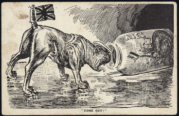 """Image: Blomfield, William, 1866-1938 :""""Come out!"""". """"N.Z. Observer"""" postcard [1914]."""