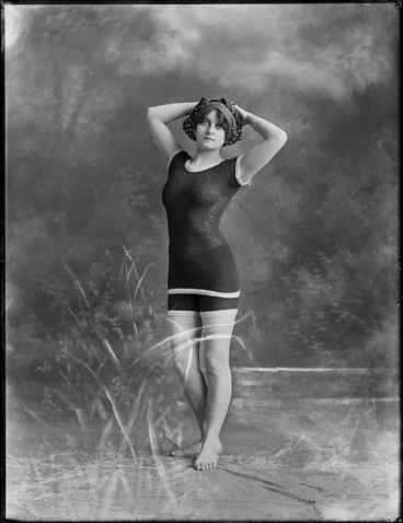 Image: A woman identified as Lola, posing in a bathing costume, probably in Auckland
