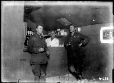 Image: The bar at the New Zealand Field Artillery officers' club, World War I