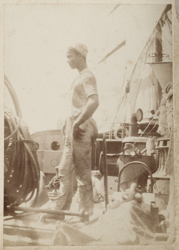 Image: Unidentified crewman on ships deck