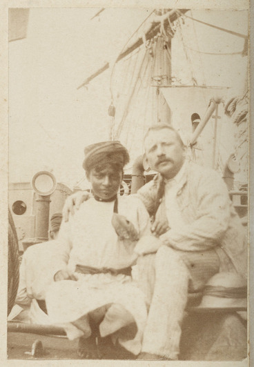 Image: Two men on deck of unidentified ship