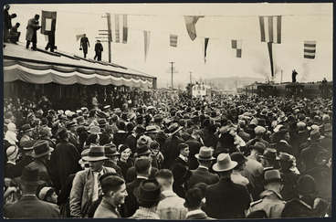Image: Opening of the Napier-Wairoa-Waikokopu railway, at Wairoa, Hawke's Bay - Photograph taken by Railways Publicity Department