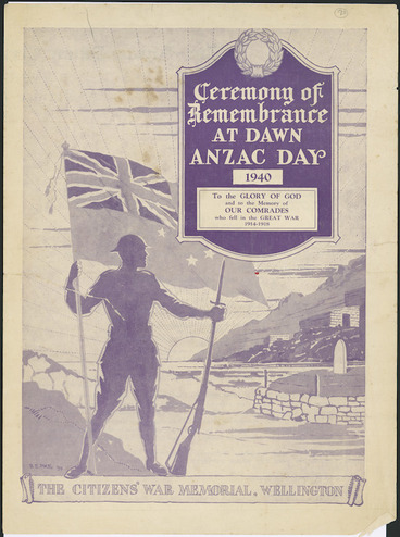 Image: Pike, Bertram Edgar, 1890-1972 :Ceremony of remembrance at dawn, ANZAC Day 1940. The Citizens' War Memorial, Wellington / B E Pike [19]39. [Programme cover].