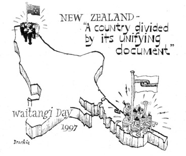 Image: Brockie, Bob :New Zealand - 'A country divided by its unifying document'. Waitangi Day, 1997