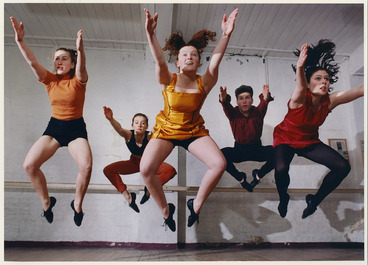 Image: Footnote Dance Company dancers rehearsing Vinyl Oven, choreographed by Michael Parmenter - Photograph taken by John Nicholson