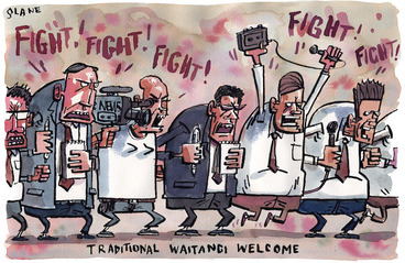 """Image: Traditional Waitangi welcome. """"Fight! Fight! Fight! Fight! Fight! 7 February, 2004"""
