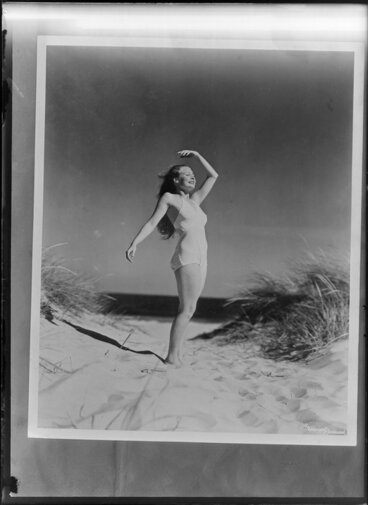 Image: Unidentified young woman at the beach