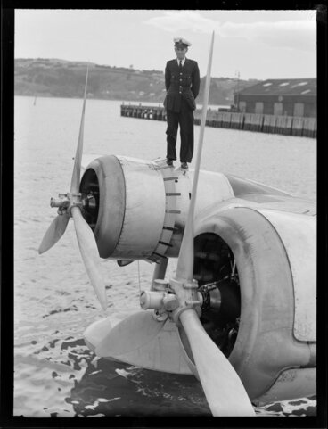 Image: Crew member, standing on the flying boat, Centaurus, Dunedin Harbour