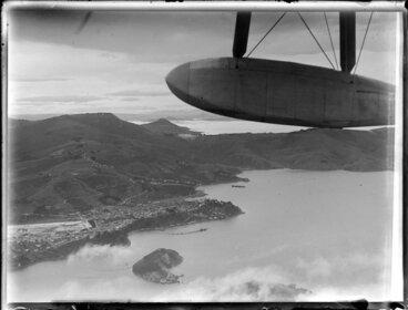 Image: Dunedin Harbour, probably taken from Centaurus, in flight