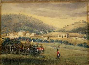 Image: Bridge, Cyprian, 1807-1885 :View of the attack on the pah of the Waikadi tribe on the morn of the 16th May, 1845