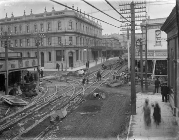 Image: Corner of Cuba and Manners Streets, Wellington, showing men working on tram lines