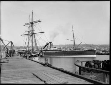 Image: Steam ship Mararoa, at wharves in Dunedin, including a sailing ship moored alongside