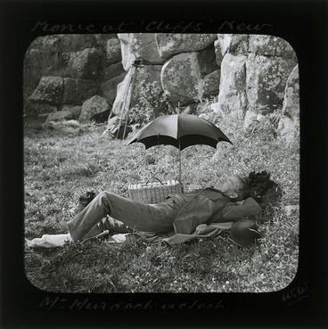 Image: Mr Murdoch asleep, picnic at Cliffs, Kew, Dunedin