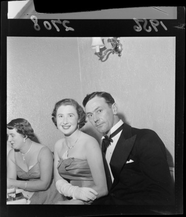 Image: Unidentified guests at the Reach For The Sky Premiere Ball, including tuxedo and evening dresses, location unknown