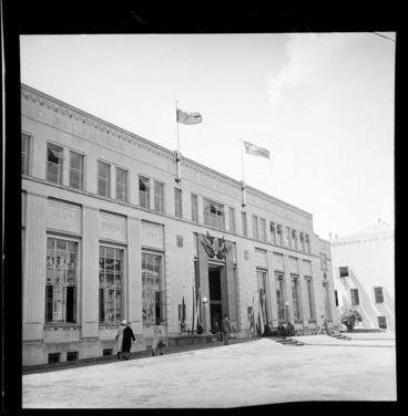 Image: New Zealand Blue Ensign flags on the Wellington Central Library building