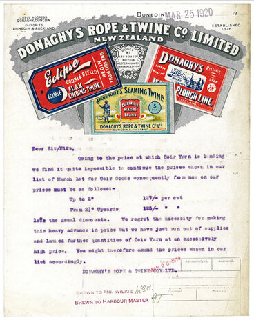 Image: Donaghy's Rope and Twine Company Limited letterhead