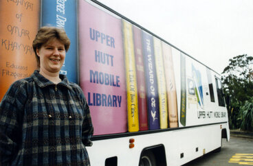 Image: Upper Hutt City Library; mobile library bus repainted; shown with mobile assistant librarian Kerry O'Keefe.