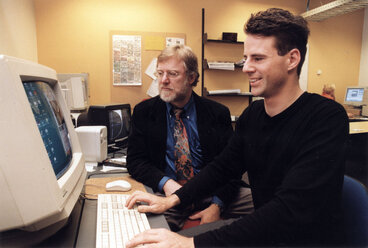 Image: Computers in architecture; student Gregory More demonstrating animation to Kingston Morrison's Hal Smith.