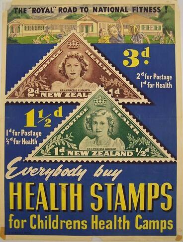 "Image: ""The ""Royal"" Road to National Fitness!"" Everybody buy Health stamps [poster]"