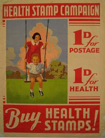 "Image: ""Health Stamp campaign. 1d (penny) for postage. 1d (penny) for Health. Buy Health Stamps! [poster]"