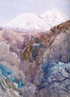"""Image: """"Mt Taranaki/Egmont and Fanthams Peak from Kapuni Gorge"""""""