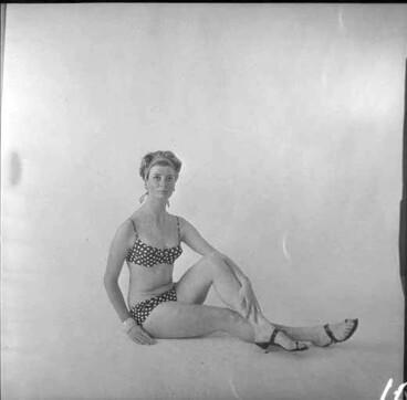 Image: Full length portrait of Barbara Skokandich, modelling a bathing suit