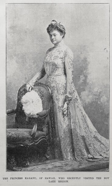 Image: The princess Kahanu, of Hawaii, who recently visited the Hot Lake Region.