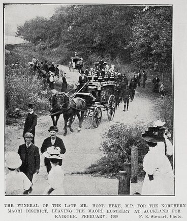 Image: THE FUNERAL OF THE LATE MR. HONE HEKE, M.P. FOR THE NORTHERN MAORI DISTRICT, LEAVING THE MAORI HOSTELARY AT AUCKLAND FOR KAIKOHE, FEBRUARY, 1909