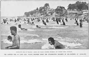 Image: Recreative side of training: Maori and Island soldiers swimming off Narrow Neck, Auckland