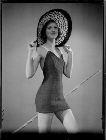 Image: Full length portrait of a model for New Zealand Knitted Wear 1940s