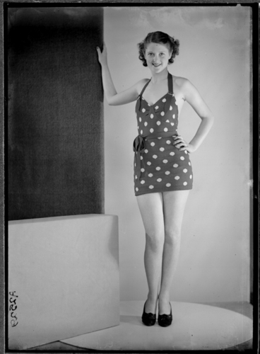 Image: Showing a model wearing a spotted bathing suit 1940