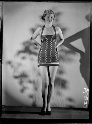 Image: Full length portrait of a model wearing a bathing suit, 1940s