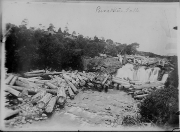 Image: Showing a river and waterfall, possibly Punakitere Falls near....
