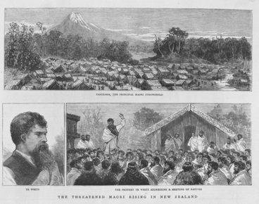 Image: Drawings showing Parihaka, Te Whiti and Te Whiti addressing a crowd, 1881?