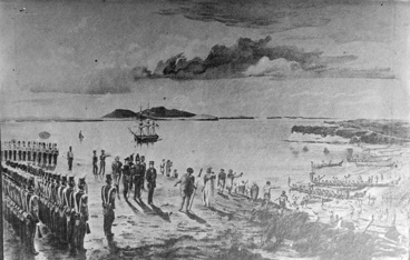 Image: The Invasion of Auckland by the Ngatipaoa, 17 April 1851 The Invasion of Auckland by the Ngatipaoa, 17 April 1851