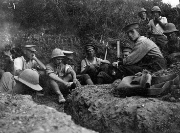 Image: Soldiers waiting in a trench at Gallipoli