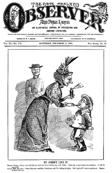 Image: New Zealand takes its medicine, suffrage cartoon