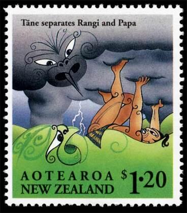 Image: Tāne separating Rangi and Papa